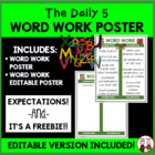 Daily 5 Word Work Intermediate Poster I Chart FREE