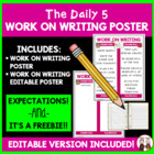 Daily 5 Work on Writing Intermediate Poster I Chart FREE