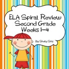 Daily ELA Spiral Review For Second Grade,  Weeks 1-4