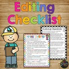 Daily Edit Editing Writing Checklist for First Grade and S