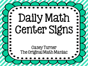 Daily Math Center Signs