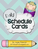 Daily Schedule Cards: Light Turquoise and Gray