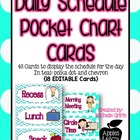 Daily Schedule Teal Pocket Cart Cards