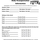 Primary Grades Daily Transportation Form