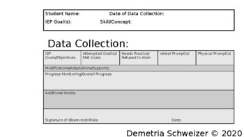 Data Collection Template for Special Education Teachers