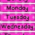 Days of the Week Cards - PINK Polka Dot