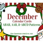 December Calendar Cards: 3 Patterns (AAB, ABAB, ABCD)