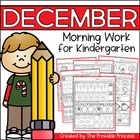 December Morning Work for Kindergarten {Common Core Aligned}