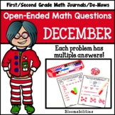 December Open-Ended Math Questions for Journals or Do-Nows
