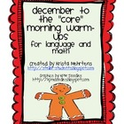 "December to the ""Core""  Morning Warm-ups in Language and Math"