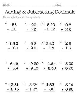 Math Worksheets Adding And Subtracting Decimals - Theintelligenceband