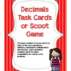 Decimals Task Cards or Scoot Game-- ALL Operations