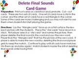 Deleting Final Sound Phonemic Awareness Card Game