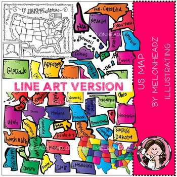 Deluxe US map LINE ART bundle by melonheadz