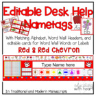 Desk Help Nametags with Matching Alphabet, and Word Wall i