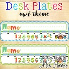 Desk Plates - Owls with Number Line