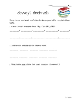 Dewey's Decimals: Ordering decimals using nonfiction books