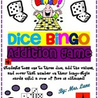 Dice Bingo Addition Game! (Great Center or Workstation!)