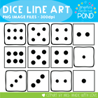Dice Line Art - Graphics for Teaching Resources and Documents