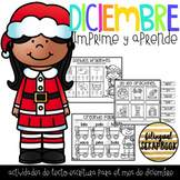 Diciembre {December literacy print and go activities in Spanish}