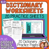 Dictionary Printables: Ready-to-Use w/ Answer Keys, CCSS Aligned