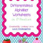 Differentiated Alphabet Worksheets {D'Nealian}
