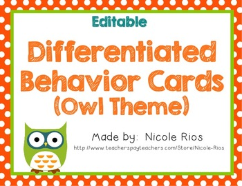 Differentiated Behavior Cards - Owl Theme (Editable)