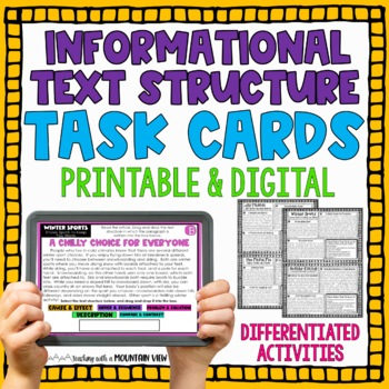 Differentiated Informational Text Structures Task Cards { Common Core Activity }
