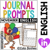 Differentiated Journal Prompts- November Themes