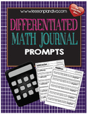 Differentiated  Math Journal  Prompts