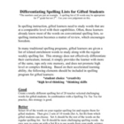 Differentiated Spelling List for Gifted Learners