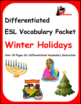 Differentiated Vocabulary Packet for  ESL students - Winte