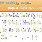 Digital  Dots and Curls Alphabet Clip Art