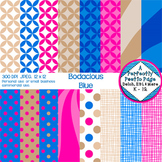 Digital Papers ~ Bodacious Blue ~ Geometric, Starbursts, P