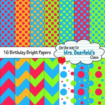 Digital Papers {Bright Happy Birthday}