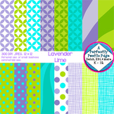 Digital Papers ~ Lavender Lime ~ Geometric, Starbursts, Po