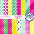 Digital Papers ~ Marvelous Magenta ~ Geometric, Starbursts