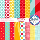 Digital Papers ~ Primary School ~ Blue & Red & Gold Patterns