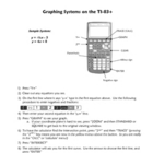 Directions for Graphing Systems of Equations on the TI-83+