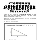 Discover the Pythagorean Theorem and Triples - CENTER ACTIVITY