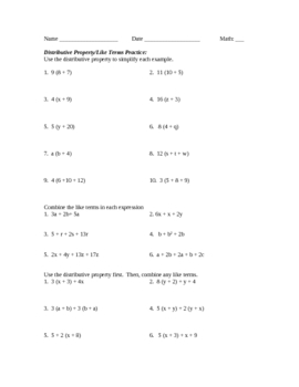 Combining Like Terms And Distributive Property Worksheet Free ...