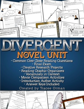 Divergent Novel Unit Common Core Aligned {Editable}