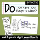 "Interactive Sight Word Reader ""Do You Have Your Things to Camp?"""