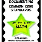 Documenting Common Core Standards - MATH  for grades: 6th,