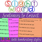 Dolch Sight Word Sentences to Correct Part 1 Work on Writing
