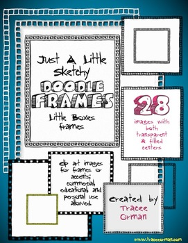 Doodle Sketches Boxes Frames Clip Art Graphics for Commercial Use