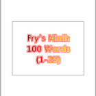 Dr. Fry's Ninth 100 Vocabulary Sight Words (1 - 100) Power