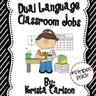 Dual Language Classroom Jobs (Stripes Pack)