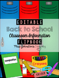 EDITABLE Back to School Class Information Flipbook