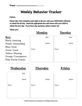 EDITABLE Clip Chart Weekly Behavior Tracker Freebie